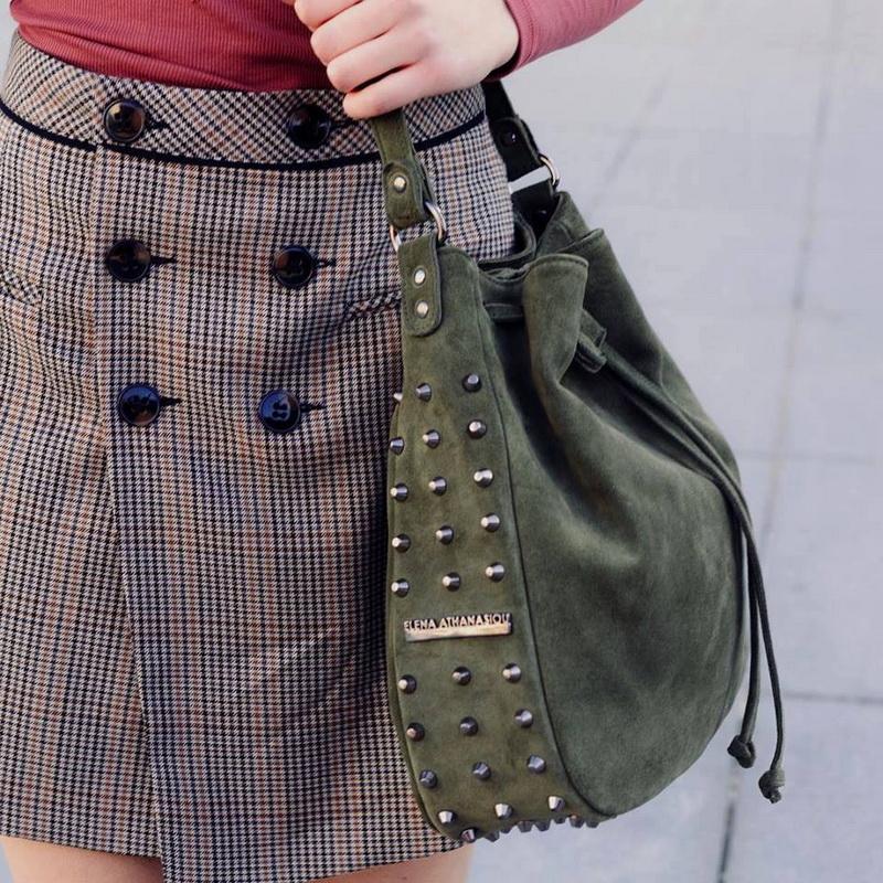 36f8b7a072 Σουέτ τσάντα Έλενα Αθανασίου