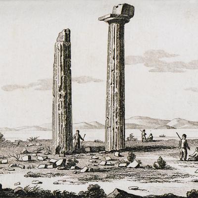 Ο Ναός του Απόλλωνα στην Κολόνα, στην Αίγινα, 1820.